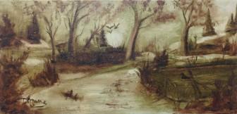 Conte monochrome toile 12 x 24 huile Dionne