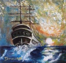 Voyage Éphémère Saturé 12x12 toile galerie Huile inspiration Turner Dionne © 2014